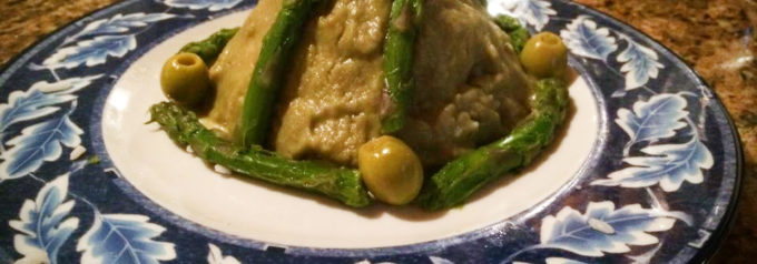 Ricetta con asparagi: riso rosso con crema di fagioli borlotti e asparagi